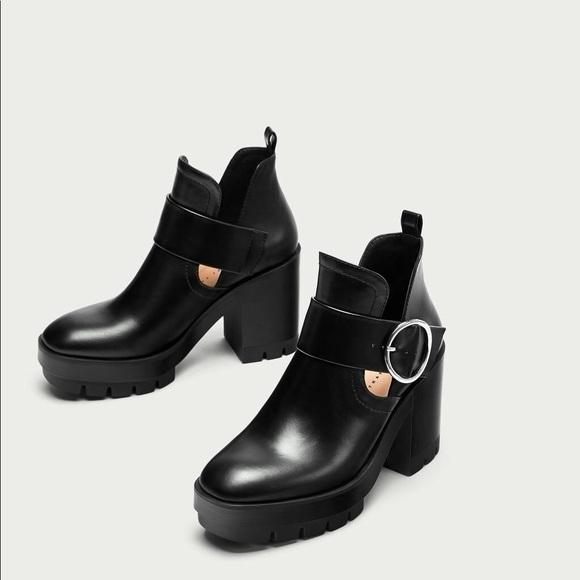e7630a272a0a NWT Zara Black Chunky Track Ankle Boots with Slits